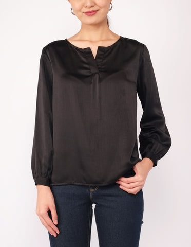 Alyana Split Neckline Blouse (Black)