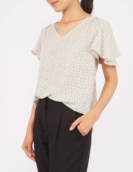 Amberly Wide Sleeves Top (Cream Dot)