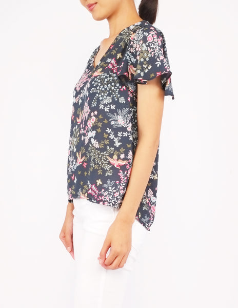 Amberly Wide Sleeves Top (Green Floral)