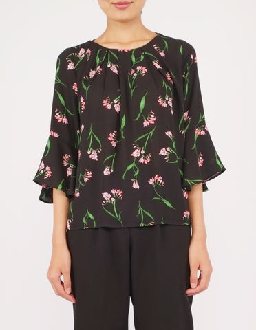 Amica Flounce Sleeves Top (Black Floral)