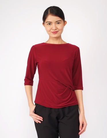 Anais Twist Front Top (Wine)