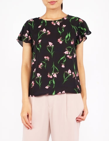 Anessa Flutter Sleeves Top (Black Floral)