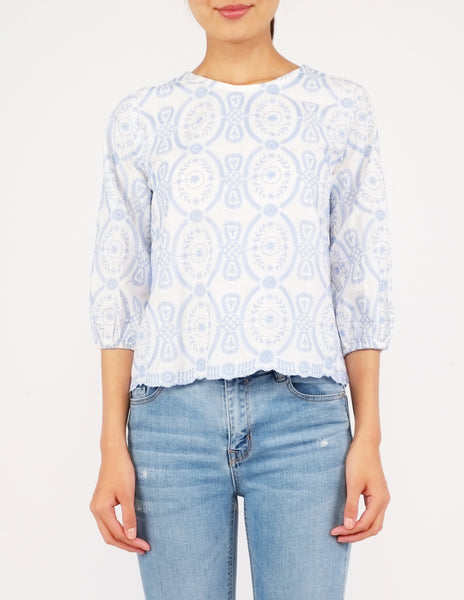 Anja Embroidered Puff Sleeves Top