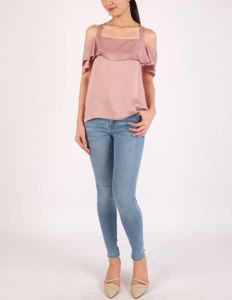 Arles Flounce Off-Shoulder Top (Lilac)