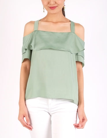 Arles Flounce Off-Shoulder Top (Mint)