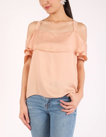 Arles Flounce Off-Shoulder Top (Peach)