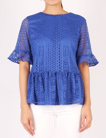 Aster Lace Peplum Top (Royal Blue)