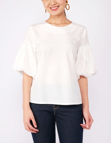 Audrey Puff Sleeves Top (White)