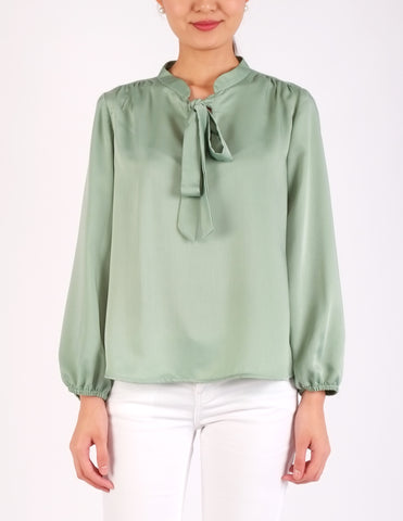 Austen Tie-Neck Top (Mint)