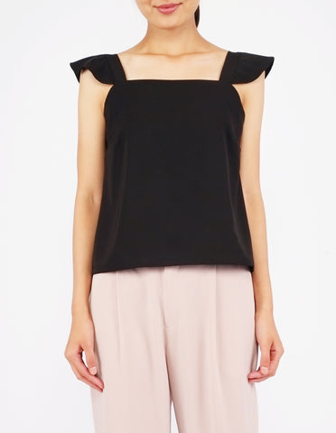 Beryl Flutter Strap Top (Black)