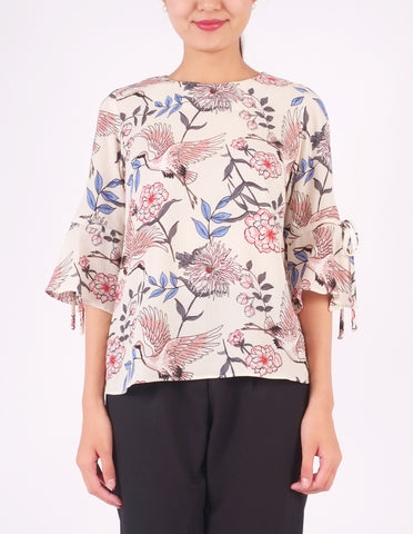 Bettina Flare Sleeves Top (Crane Print)