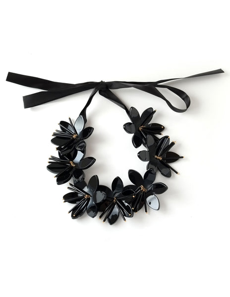 Nina Black Floral Necklace