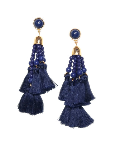 Reem Tassel Earrings (Blue)