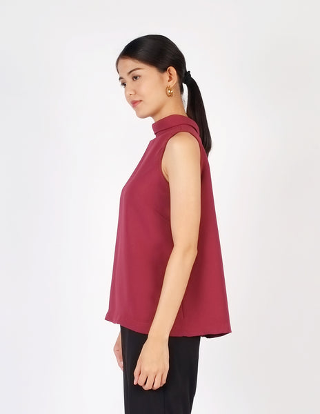 Bridget High Neck Top (Plum)