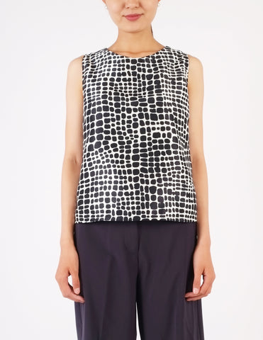 Brienne Sleeveless Top (Blue Square)