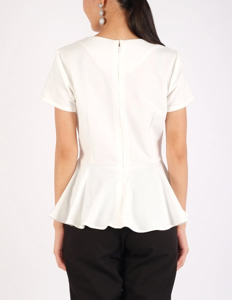 Caren Peplum Top (White)