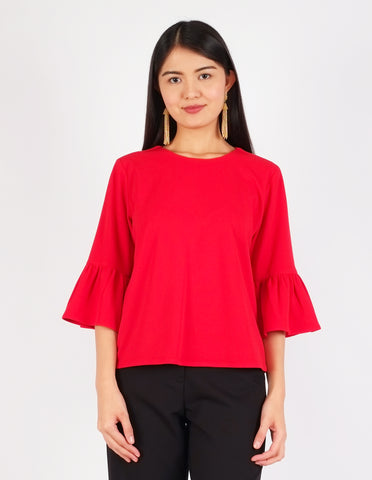 Carisma Bell Sleeves Top (Red)