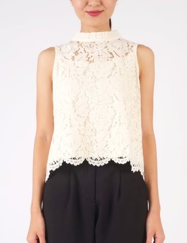 Carrie Lace Sleeveless Top (Cream)