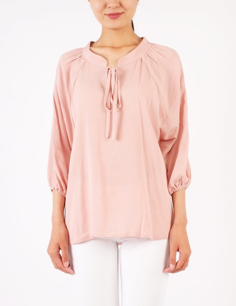 Casey Tie-Neck Top (Blush Pink)