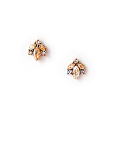 Paige Champagne Crystal Stud Earrings