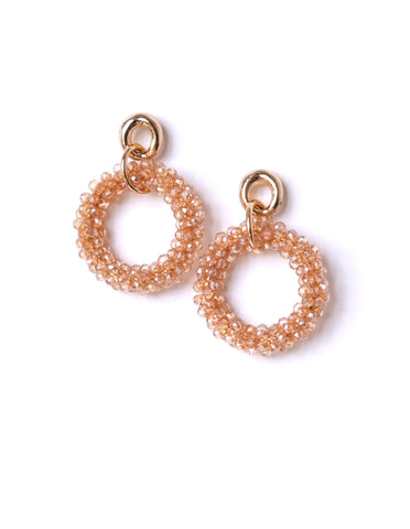 Raquel Beaded Hoop Earrings (Colors Available)