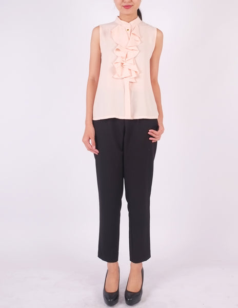 Charlie Frill Front Top (Blush Pink)