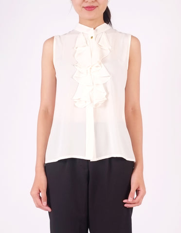 Charlie Frill Front Top (Ivory)
