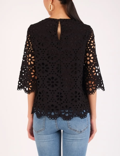Charm Eyelet Scallop Hem Top (Black)