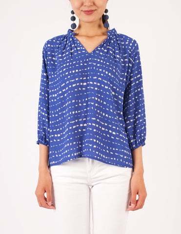 Chiara Split Neckline Top (Blue Print)