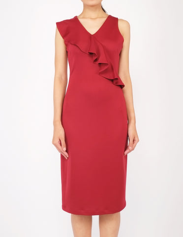 Erin Asymmetric Flounce Dress (Maroon)