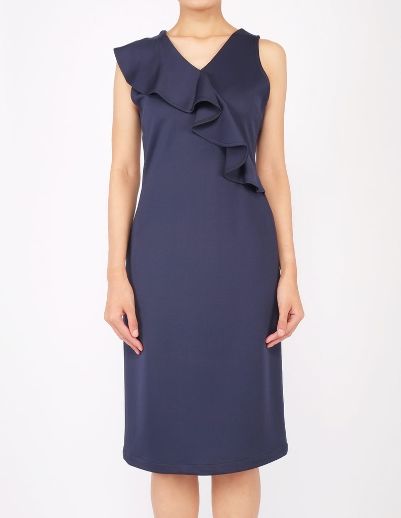 Erin Asymmetric Flounce Dress (Navy)