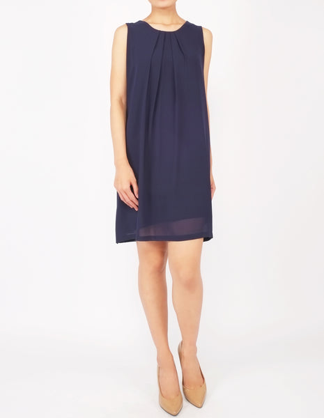 Desi Chiffon Shift Dress (Navy)