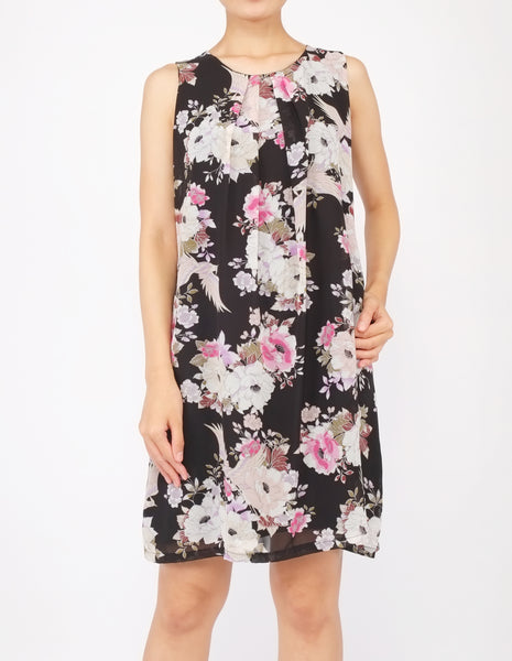 Desi Chiffon Shift Dress (Black Floral)