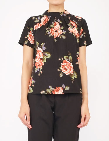 Fina Pleat Front Top (Black Floral)