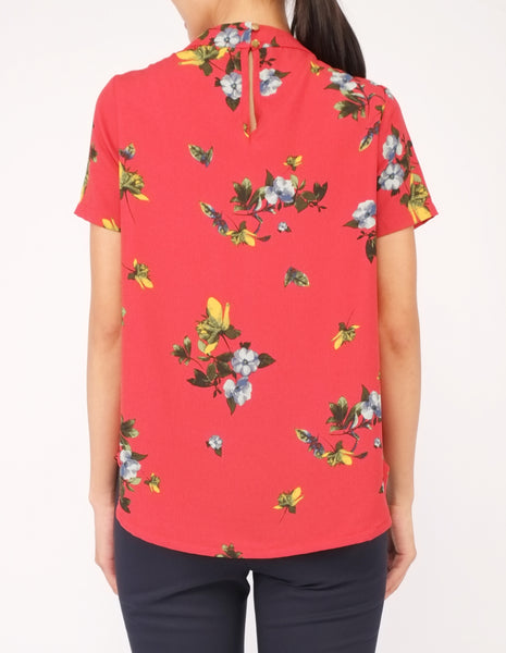 Fina Pleat Front Top (Red Floral)