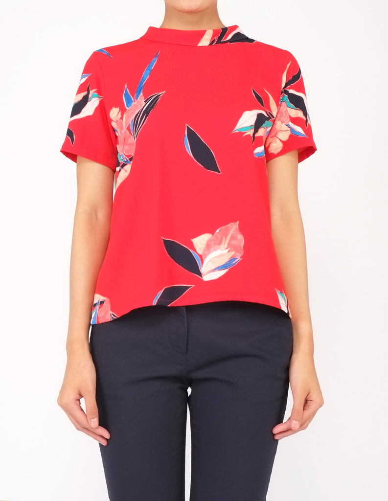 Becca Mock Neck Top (Red Floral)