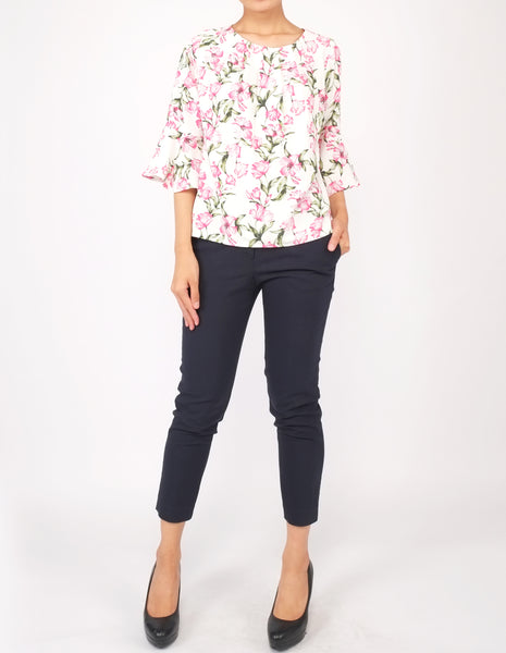 Amica Flounce Sleeves Top (White Floral)