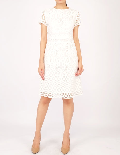 Ellie Lace Sheath Dress (White)