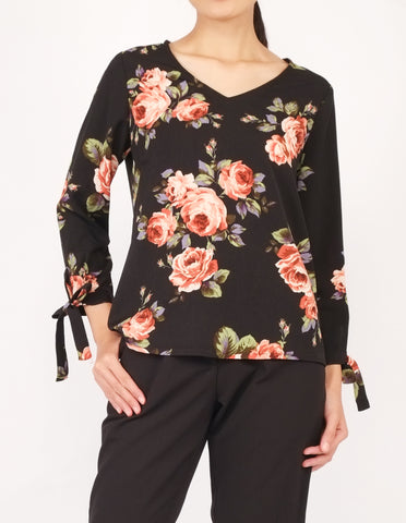 Alexy Tie-Sleeves Top (Black Floral)