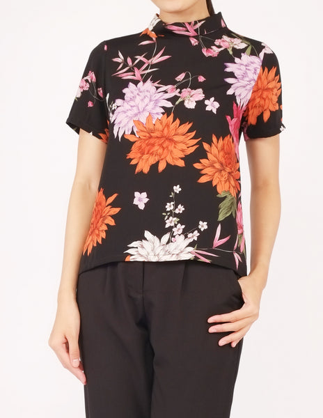 Becky Mock Neck Top (Black Floral)