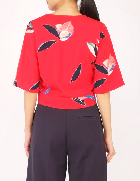 Bo Wrap Front Top (Red Floral)