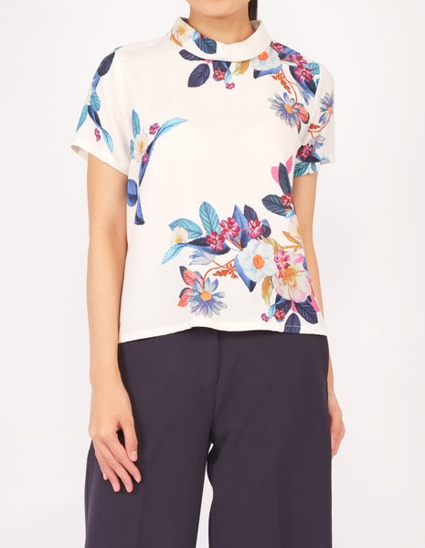 Becky Mock Neck Top (White Floral)