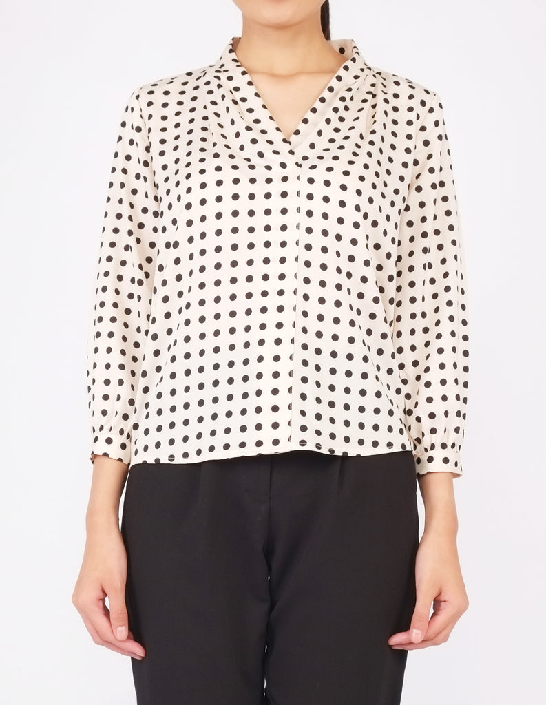 Fauna Long Sleeves V-Neck Blouse (Polka Dot)