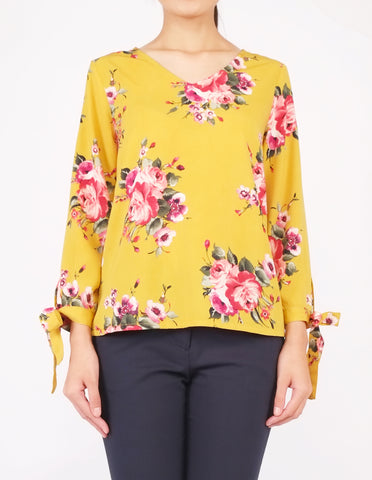 Alexy Tie-Sleeves Top (Yellow Floral)