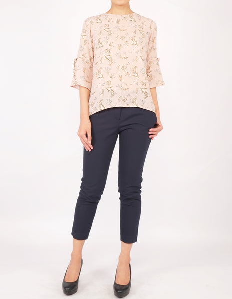 Bettina Flare Sleeves Top (Peach Floral)