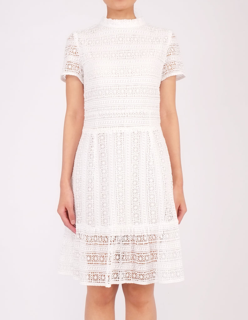 Elba Ruffle Hem Dress (White)
