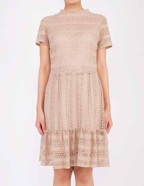 Elba Ruffle Hem Dress (Beige)