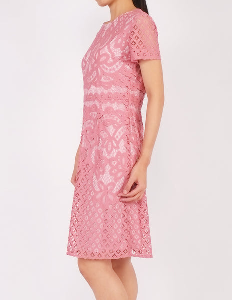 Ellie Lace Sheath Dress (Pink)