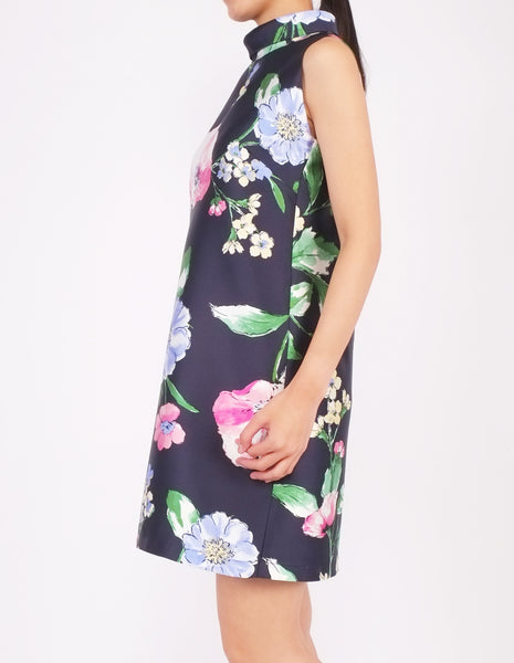 Daisy Mock Neck Collar Sheath Dress (Blue Floral)