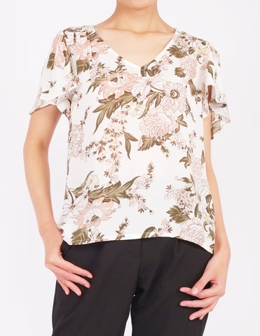 Amberly Wide Sleeves Top (White Floral)